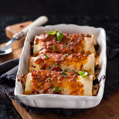 Canneloni med kyckling, mozzarella och spenat