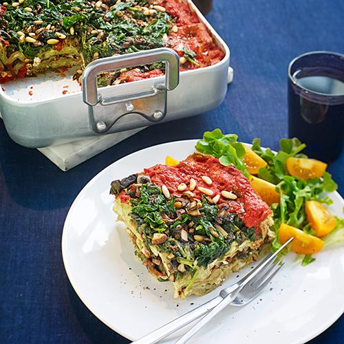 Lasagne rosso verde med spenat och svamp