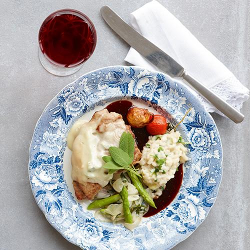 Saltimbocca med Gorgonzolarisotto