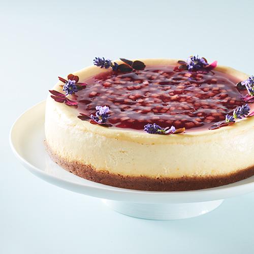 Cheesecake med lavendel och äpple